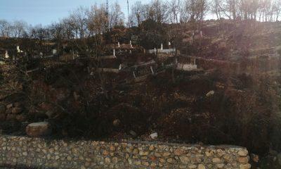 Karaman'da heyelan mezarlıkları kaydırdı