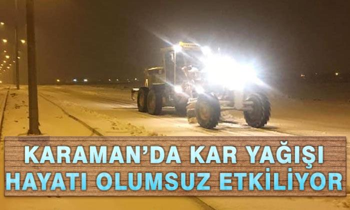 Karaman'da Kar ve Tipi Hayatı Olumsuz Etkiliyor