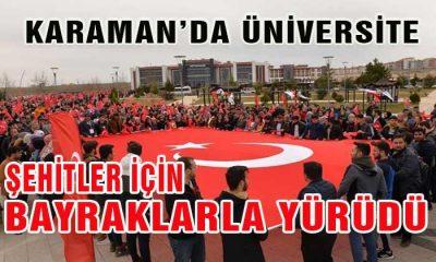Karaman'da Üniversite Şehitlerimiz İçin Yürüdü