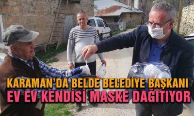Karaman'da Belediye Başkanı Bizzat Maske Dağıtıyor