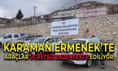Karaman Ermenek'te Araçlar Ücretsiz Dezenfekte Ediliyor