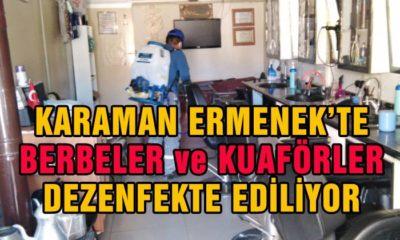 Ermenek'te Berber ve Kuaförler Dezenfekte Ediliyor