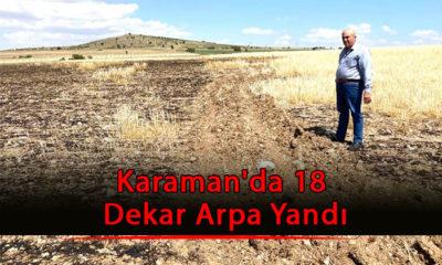 Karaman'da 18 Dekar Arpa Yandı