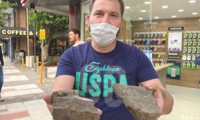 Çatıdan düşen beton parçalarından saniyelerle kurtuldular