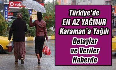 Türkiye'de En Az Yağmur Karaman'a Yağdı