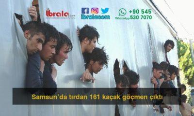 Samsun'da tırdan 161 kaçak göçmen çıktı