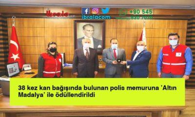 38 kez kan bağışında bulunan polis memuruna 'Altın Madalya' ile ödüllendirildi