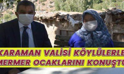 Karaman Valisi köylülerle mermer ocaklarını görüştü