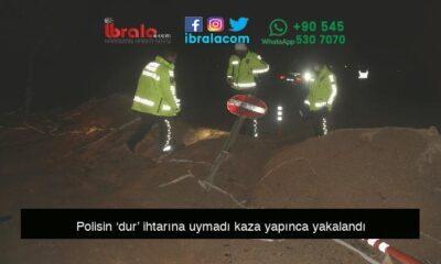 Polisin 'dur' ihtarına uymadı kaza yapınca yakalandı