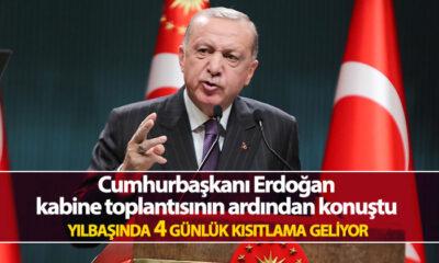 Cumhurbaşkanı Erdoğan: 31 Aralık Perşembe saat 21.00'den 4 Ocak saat 05.00'e kadar kesintisiz uygulanacak