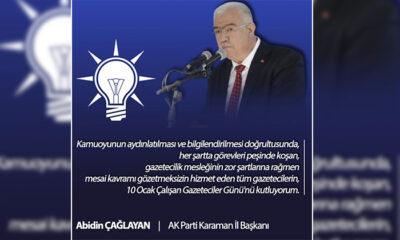 AK Parti Karaman İl Başkanı Çağlayan'dan 10 Ocak Gazeteciler Günü Mesajı