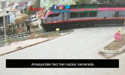Amasya'daki feci tren kazası kamerada