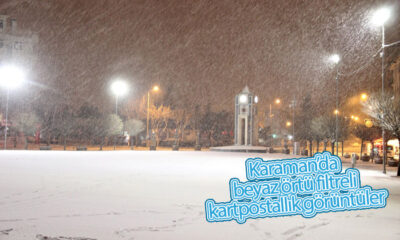 Karaman'da Beyaz Örtü Filtreli Kartpostallık Görüntüler