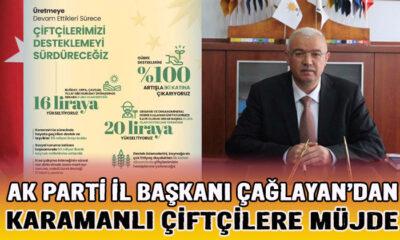 AK Parti İl Başkanı Çağlayan Karamanlı çiftçilere müjde verdi
