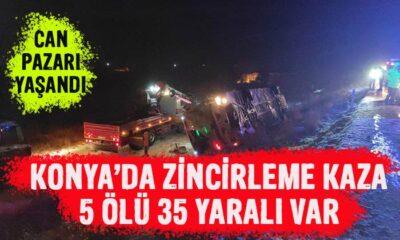 Konya'da feci kaza! 5 ölü 35 yaralı var!