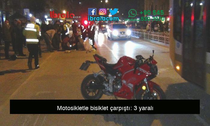 Motosikletle bisiklet çarpıştı: 3 yaralı