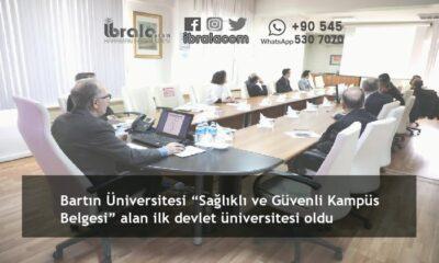 """Bartın Üniversitesi """"Sağlıklı ve Güvenli Kampüs Belgesi"""" alan ilk devlet üniversitesi oldu"""