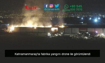 Kahramanmaraş'ta fabrika yangını drone ile görüntülendi