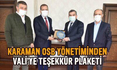 Karaman OSB Yönetiminden Vali'ye teşekkür plaketi