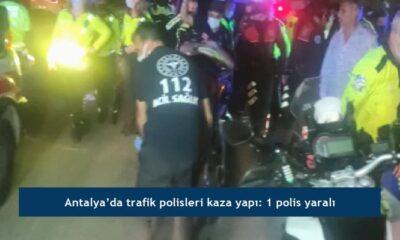 Antalya'da trafik polisleri kaza yapı: 1 polis yaralı
