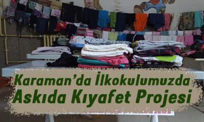 Karaman'da ilkokulda askıda kıyafet projesi