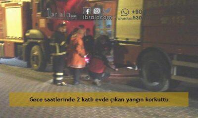 Gece saatlerinde 2 katlı evde çıkan yangın korkuttu