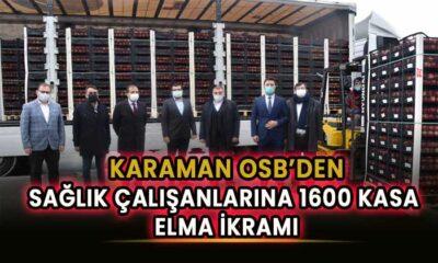Karaman OSB'den sağlık çalışanlarına 1600 kasa elma
