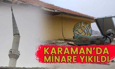 Karaman'da minare yıkıldı! İşte o anlar