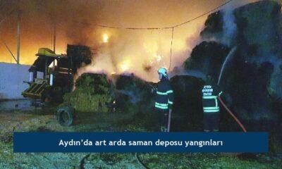 Aydın'da art arda saman deposu yangınları