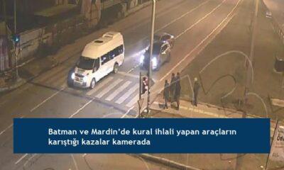 Batman ve Mardin'de kural ihlali yapan araçların karıştığı kazalar kamerada