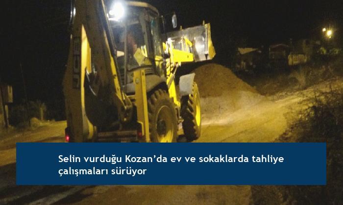 Selin vurduğu Kozan'da ev ve sokaklarda tahliye çalışmaları sürüyor