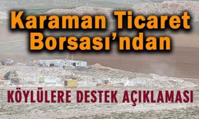 Karaman Ticaret Borsası'ndan köylülere destek açıklaması