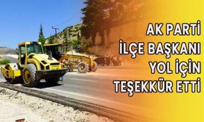 AK Parti İlçe Başkanı yol için teşekkür etti