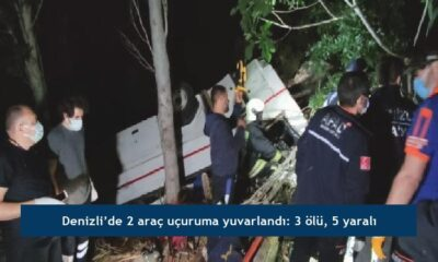 Denizli'de 2 araç uçuruma yuvarlandı: 3 ölü, 5 yaralı