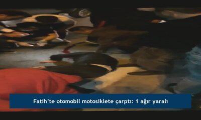 Fatih'te otomobil motosiklete çarptı: 1 ağır yaralı