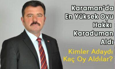 Karaman'da en yüksek oyu Hakkı Karaduman aldı