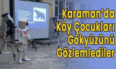 Karaman'da köy çocukları gökyüzünü gözlemlediler