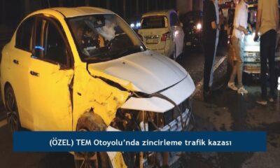 (ÖZEL) TEM Otoyolu'nda zincirleme trafik kazası