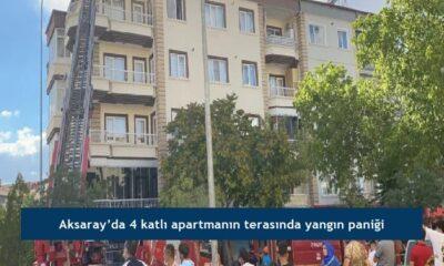 Aksaray'da 4 katlı apartmanın terasında yangın paniği