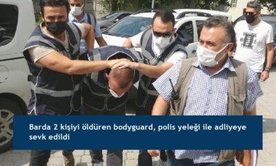 Barda 2 kişiyi öldüren bodyguard, polis yeleği ile adliyeye sevk edildi