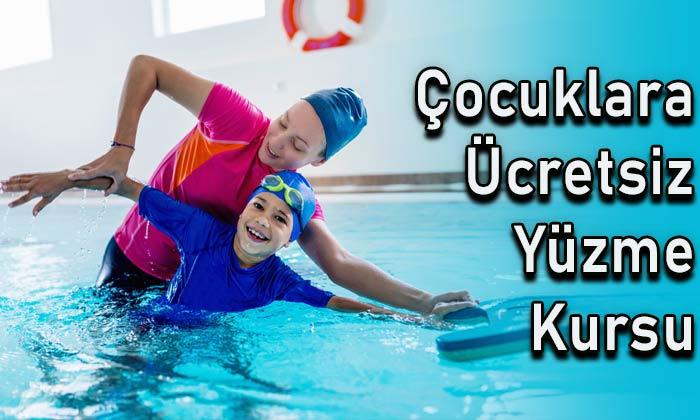 Çocuklara ücretsiz yüzme kursu