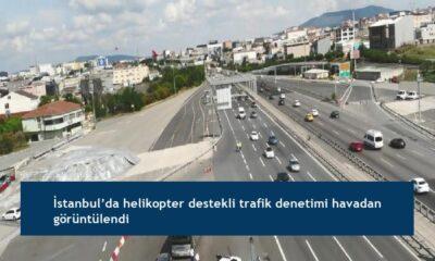 İstanbul'da helikopter destekli trafik denetimi havadan görüntülendi