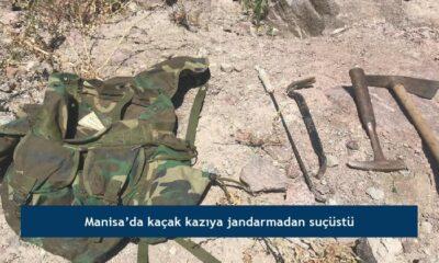 Manisa'da kaçak kazıya jandarmadan suçüstü