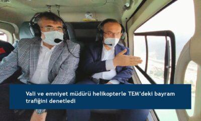 Vali ve emniyet müdürü helikopterle TEM'deki bayram trafiğini denetledi