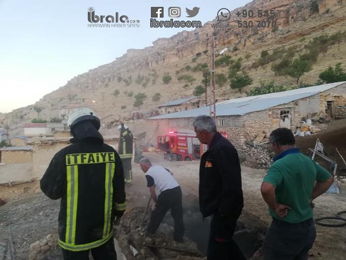 Karaman'ın köyünde çıkan yangın korkuttu