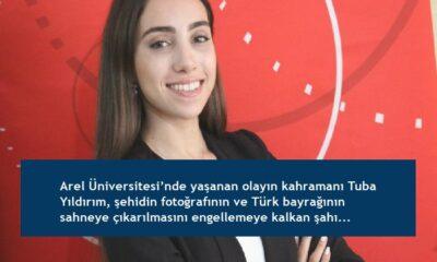 Arel Üniversitesi'nde yaşanan olayın kahramanı Tuba Yıldırım, şehidin fotoğrafının ve Türk bayrağının sahneye çıkarılmasını engellemeye kalkan şahıstan şikayetçi oldu
