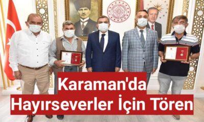 Karaman'da hayırseverler için tören