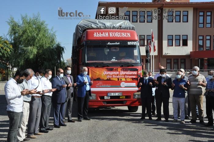 Karaman'dan 20 aileye beyaz eşyalar yola çıktı