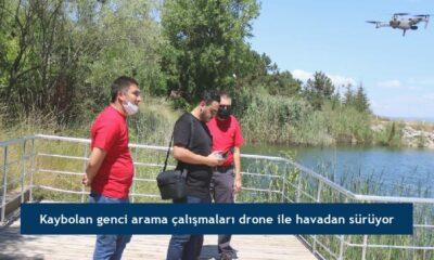 Kaybolan genci arama çalışmaları drone ile havadan sürüyor