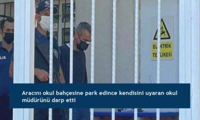 Aracını okul bahçesine park edince kendisini uyaran okul müdürünü darp etti